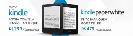 Novo Kindle e Kindle Paperwhite na Amazon